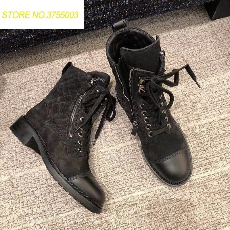 18555384f181f4 2018 Mode Martin Rond Dames Chaussures Black L'automne Marques 35 Femmes De  Bout Dentelle Chunky Pour Combat 40 Taille Moto Bottes ...