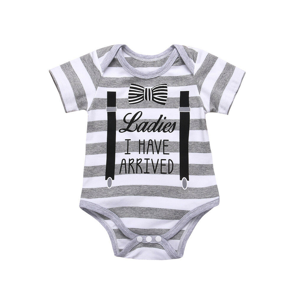 0-18M Newborn Baby Boy Short Sleeve Striped Cotton Romper Jumpsuit Outfits Summer Clothes