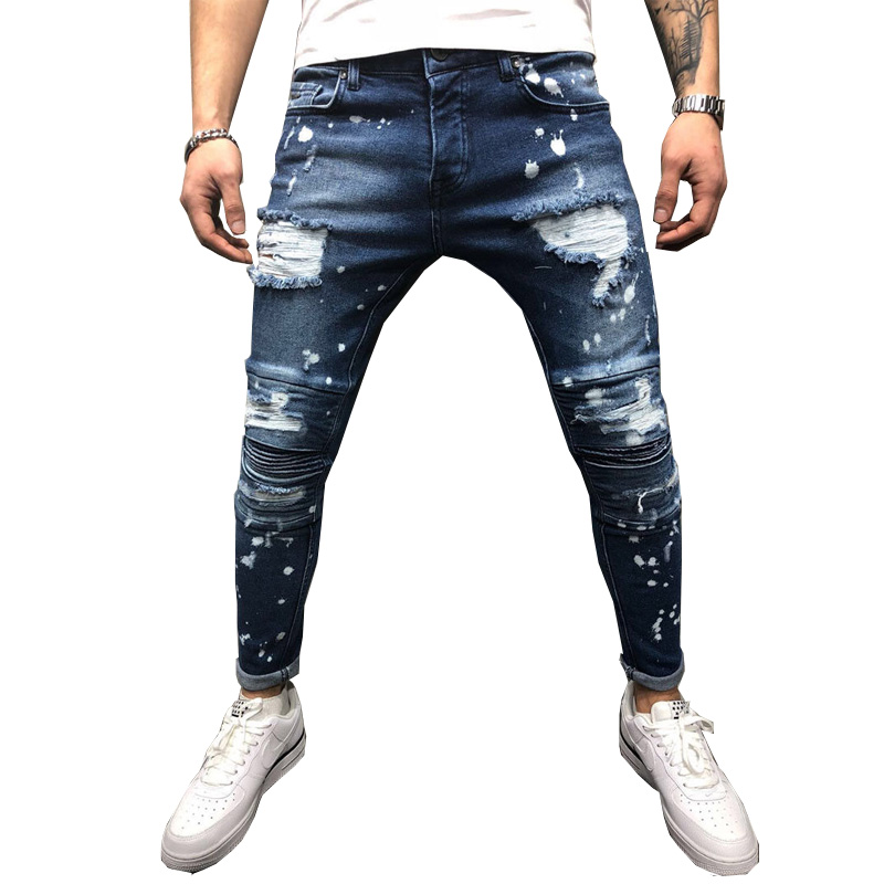Men Jeans Stretch Destroyed Ripped Paint Point Design Arrival Ankle Zipper Skinny Jeans For Men