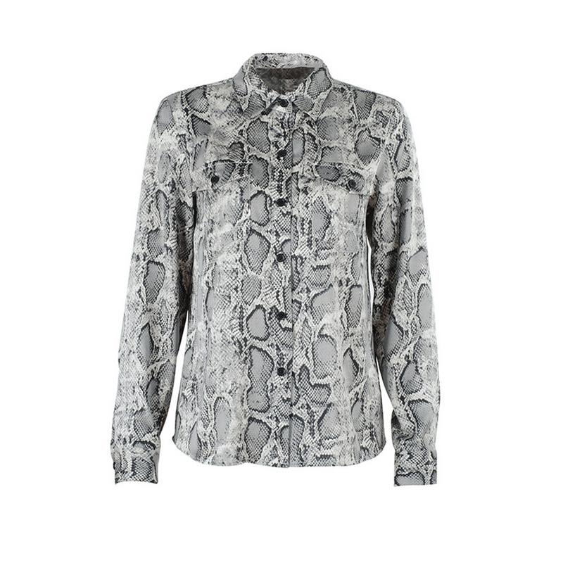 3fb6b0b515f Sexy Snake Skin Print Blouses And Tops Female Shirt Womens Long Sleeve 2018  Autumn Blusas Pocket Button Down Vintage Blouse