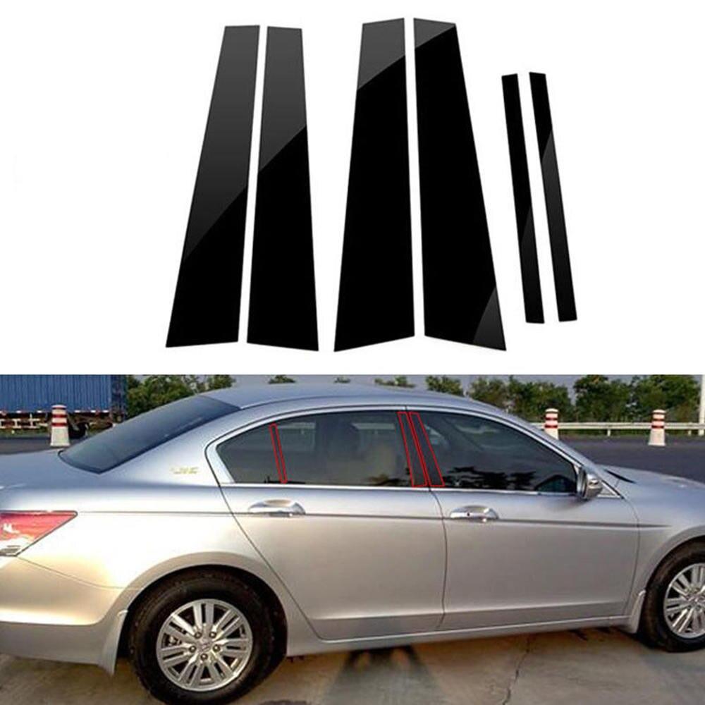 Fits Honda Accord 2013-2014  Carbon Fiber Door Pillars B-Pillar Trim Covers Post
