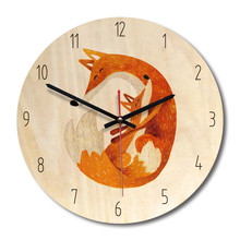 New 3D Wall Clock Wooden Modern Design Quartz Cartoon For Room Silent Movement Watch Dropshipping