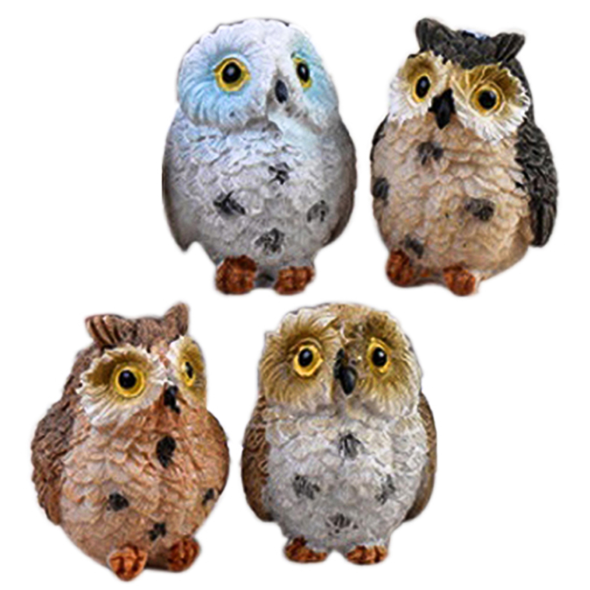 4PCS Owl Resin Landscape Doll Micro Ornaments Deco