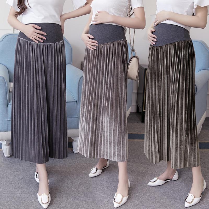 Sunbaby Maternity Clothing Autumn And Winter New Korean Style Fashion Velvet Pregnant Women Pleated Skirt Q1219
