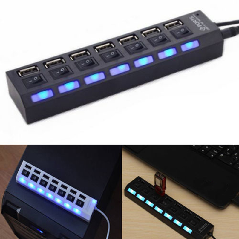 Multi 7 Ports High Speed USB 2.0 480Mbps USB Charger Hub With Switch Portable USB Splitter Peripherals Accessories For Computer