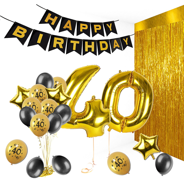 Amawill 40th Happy Birthday Decorations Black Banner Celebration Supplies With Gold Star Foil Balloons Latex Globos For Adult 6D