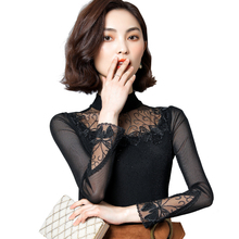 Spring Autumn Fashion Women Turtleneck Long Sleeve Lace Casual Bodycorn Slim Shirt Tops Sexy Hollow Out Office Blouse Plus Size