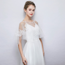 Wedding Bridal Sheer Sumer Wrap White Applique Tulle Cover Up Shawl High Low Cape Sleeveless Bolero Handmade Women Wraps