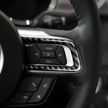 עבור פורד מוסטנג 2015 2016 2017 3pcs סיבי פחמן רכב פנים הגה כפתור רצועת תפאורה כיסוי