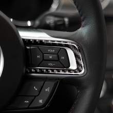 For Ford Mustang 2015 2016 2017 3pcs Carbon Fiber Car Interior Steering Wheel Button Strip Decor Cover недорого