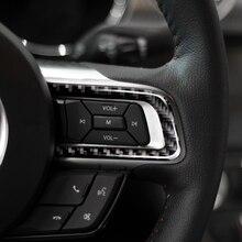 Para Ford Mustang 2015 2016 2017 3 uds. Cubierta de decoración de tira de botón de volante Interior de coche de fibra de carbono