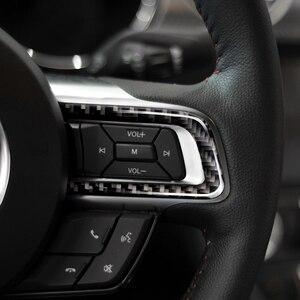 Image 1 - Per Ford Mustang 2015 2016 2017 3pcs In Fibra di Carbonio Interni Auto Volante Pulsante Striscia Della Decorazione Della Copertura