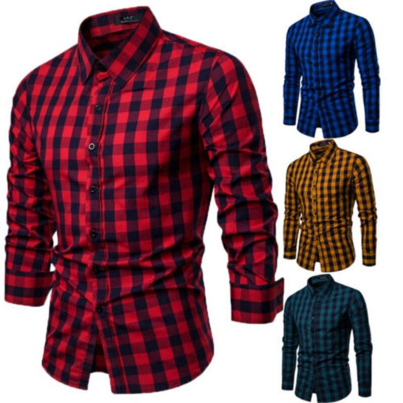 bc34d3cb0ad6002 Для мужчин рубашки Европа Размеры Новые поступления Slim Fit мужской рубашка  с длинными рукавами Британский стиль хлопок Для мужчин рубашка