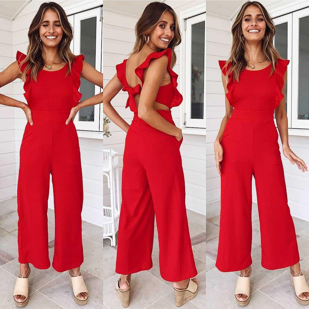 Ehrlich 2019 Mode Sexy Backless Frauen Overall Taschen O Neck Bogen Frauen Sommer Playsuits Overalls Weibliche Solide Overall Knitterfestigkeit