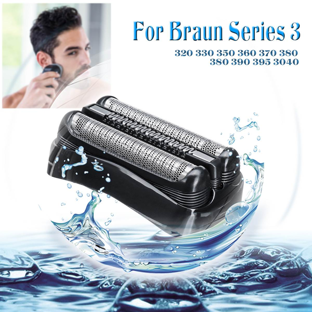 Shaver Blade Foil Head Replacement for Braun Series 3 21B 320 330 350 360 370 380 380 390 Stainless Steel Razor Cutter Head Foil|Personal Care Appliance Parts| |  - title=