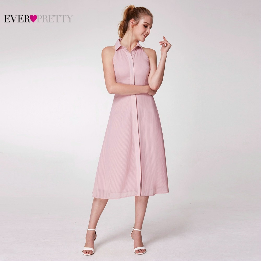 Image 4 - Pink Elegant Cocktail Dresses Ever Pretty AS07196PK A Line High Neck Casual Women Short Summer Party Dresses Robe Cocktail 2019-in Cocktail Dresses from Weddings & Events