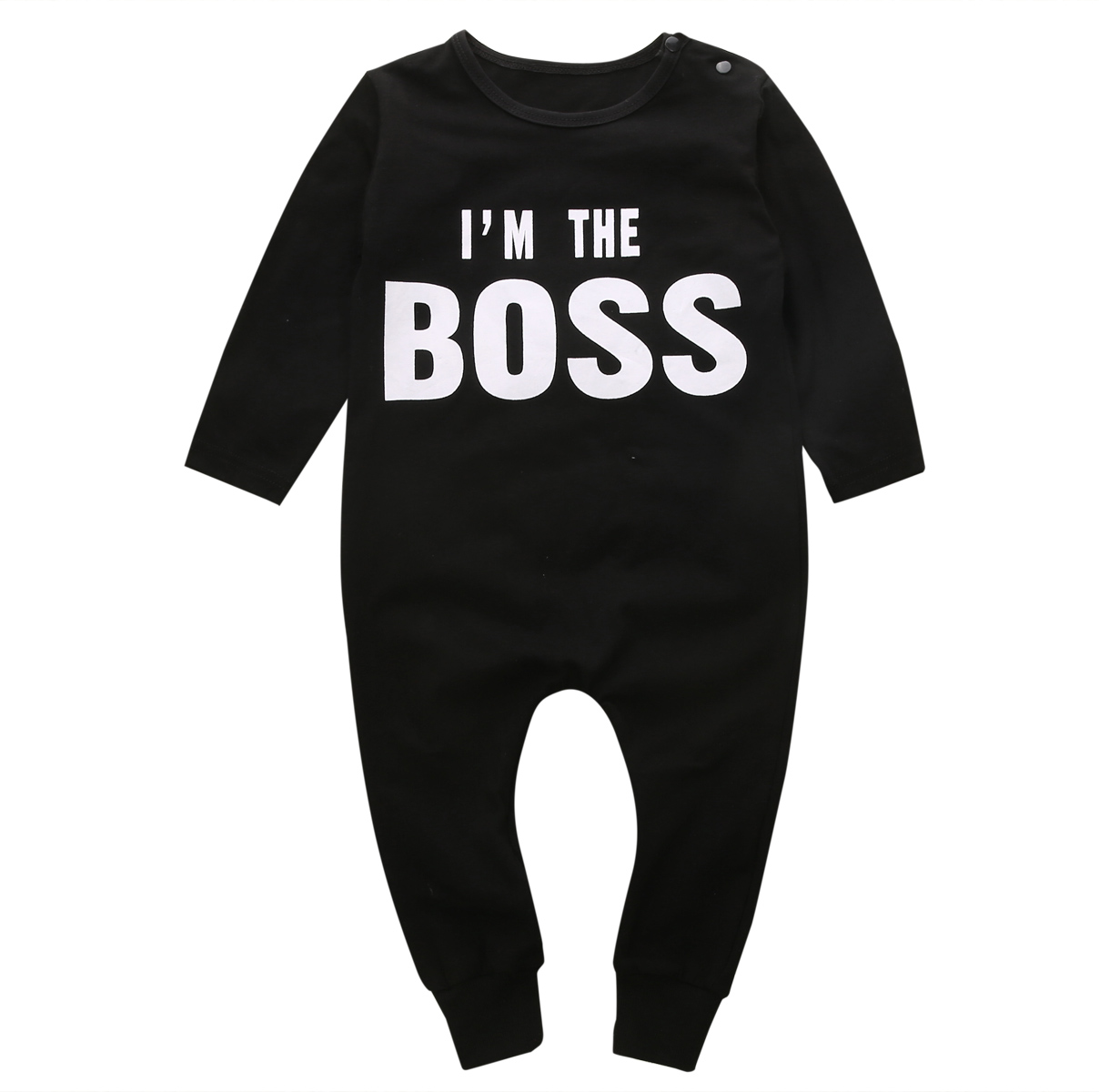 I'M The Boss Newborn Infant Baby Boys Girl Rompers Tollder Baby Long Sleeve Black Jumpsuit Playsuit Letter Clothing