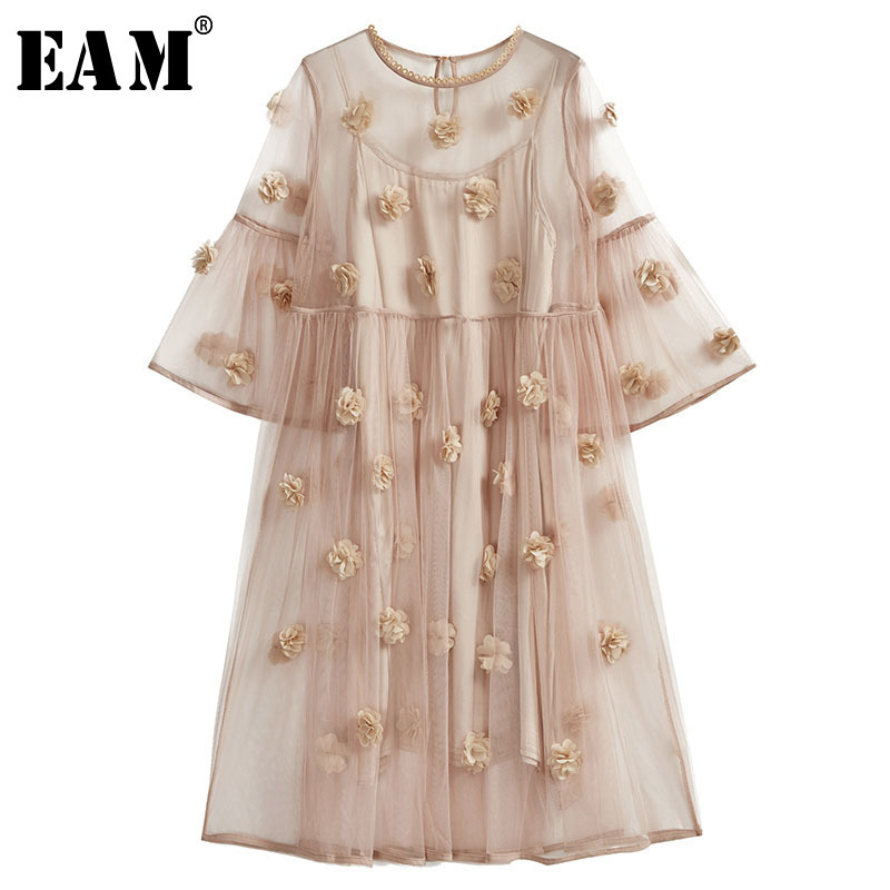 EAM 2019 New Spring Summer Round Neck Long Sleeve Black Flower Three dimensional Perspective Dress