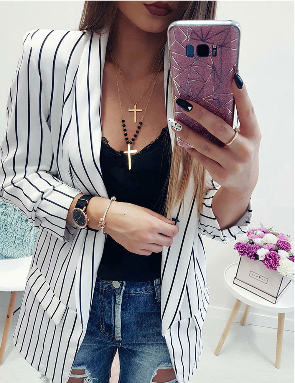 New Arrival Women Early Autumn Striped Long Sleeve Casual Coat Suits Ladies Striped Suit Blazers Women OL Jacket Hot