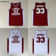 NODELAY Men s High School Lower Merion  33 Kobe Bryant Jersey Red White  Basketball Stitched Jerseys 7e7755590