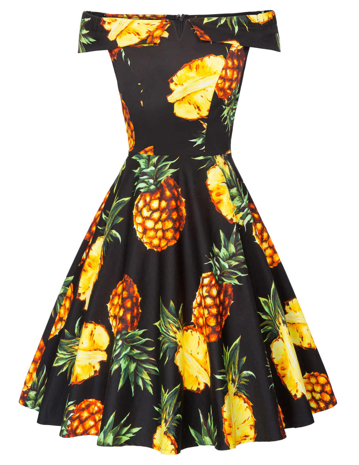 efcc08f360845 BP Vintage Women Pineapple Pattern dresses summer tropical clothing sexy  Off Shoulder Cotton party knee length A-Line Dress lady