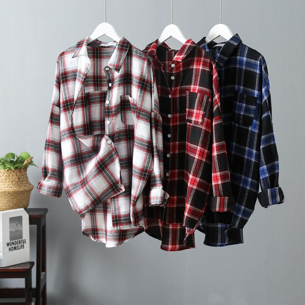 Korean Fashion Plaid Shirt Casual Womens Tops And Blouses Spring Autumn Ladies Long Sleeve Blouse Plus Size Cotton Blusas Mujer in Blouses amp Shirts from Women 39 s Clothing