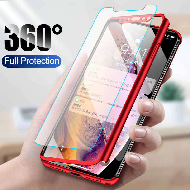 360 Full Protective Cases For iPhone XS MAX X XR Coque Phone Shells For iPhone 8 Plus 6 6S 7 Plus 5 5S SE Cover Capa with Glass