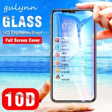 10D Premium Full Cover Tempered Glass On The For iPhone 8 7 6s Plus HD Screen Protector XR XS X Max Protective Film