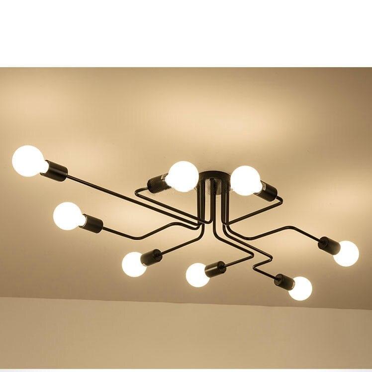 Noir Fer 8 Ramification Bulle Lustre Moderne Lustre Lumière Salon éclairage de Chandelier led lustre de plafond