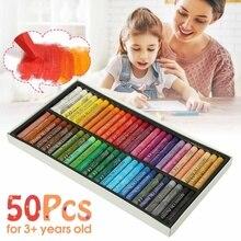 Малярные товары для рукоделия, мелки, 50 цветов, мягкая масляная пастель, набор для рисования, Детские воски, детский подарок, масляная живопись, палочка, канцелярские принадлежности