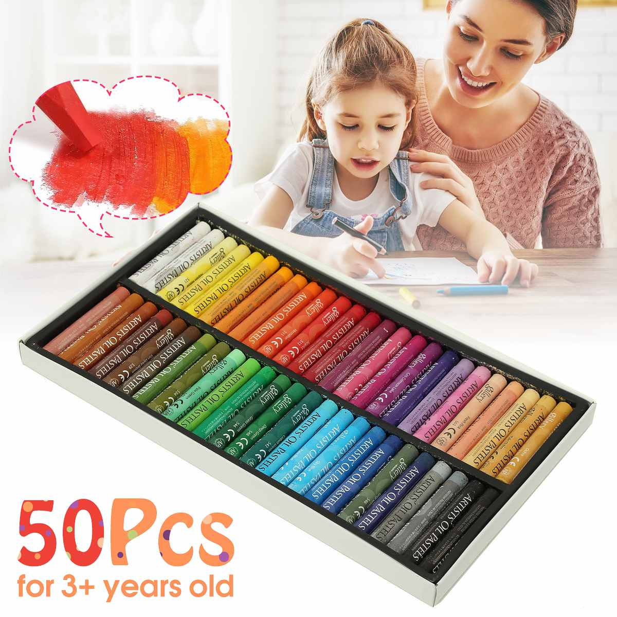 Painting Art Supplies Crayons 50 Colors Soft Oil Pastels For Drawing Set Children Waxes Kids Gift Oil Painting Stick Stationery