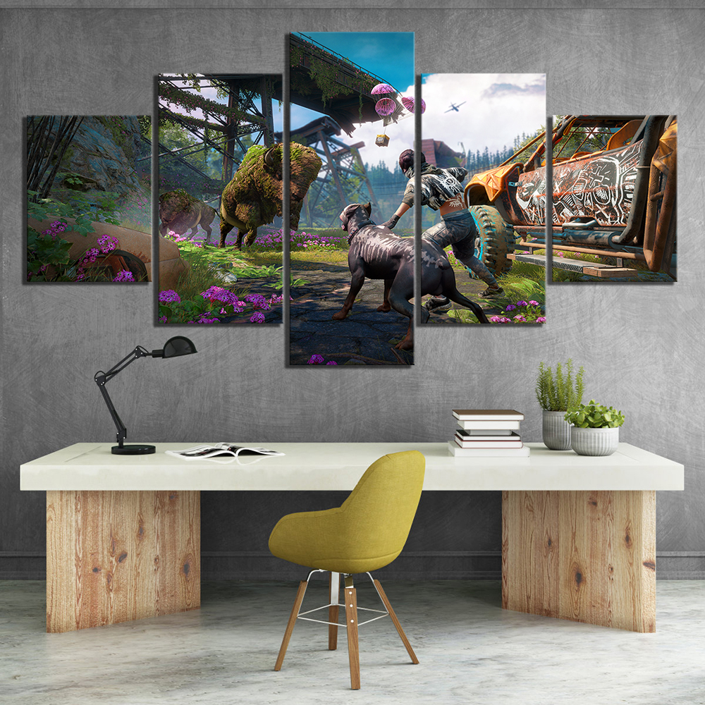 5 Piece Far Cry New Dawn Game Poster HD Pictures FAR CRY 5 Video Games Poster Artwork Canvas Paintings for Home Decor Wall Art image