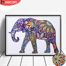 Huacan Special Shaped Diamond Painting Cross Stitch Elephant Animal Mosaic 5D Diy Home Decoration Picture Of Rhinestone