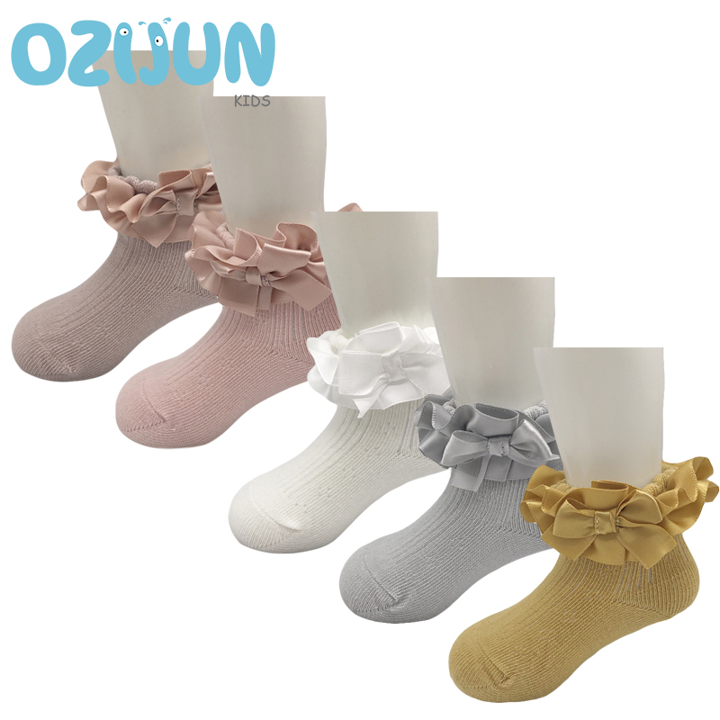 New Arrivals Baby Girls 0-8 Years Double Layer Stain Lace Princess Short Socks Kids Girls Ankle Lace Socks For Children