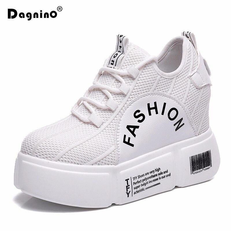 Printemps caché talons compensés femme 10 CM haute plate-forme chaussures décontractées ascenseur talons hauts en plein air marche blanc baskets femmes pompes
