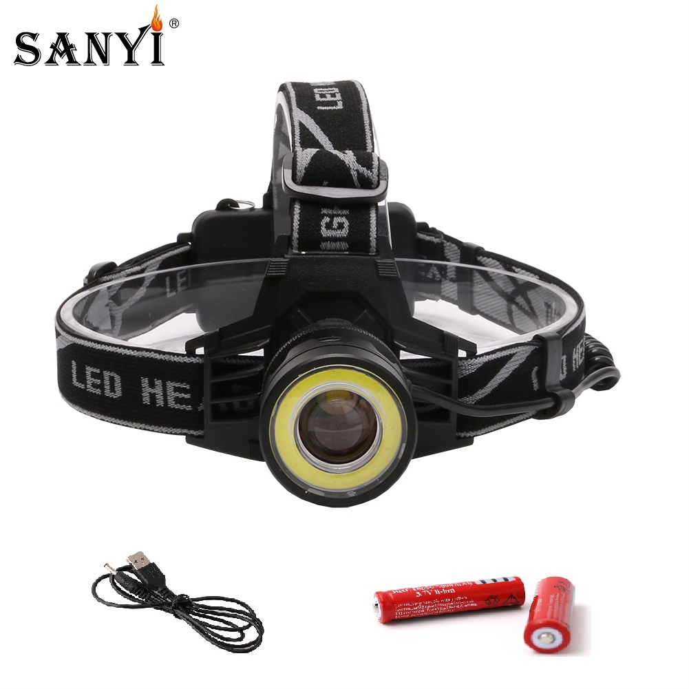 Rechargeable XML-T6+COB Headlamp 18650 Headlight Head Lamp Torch  RDR