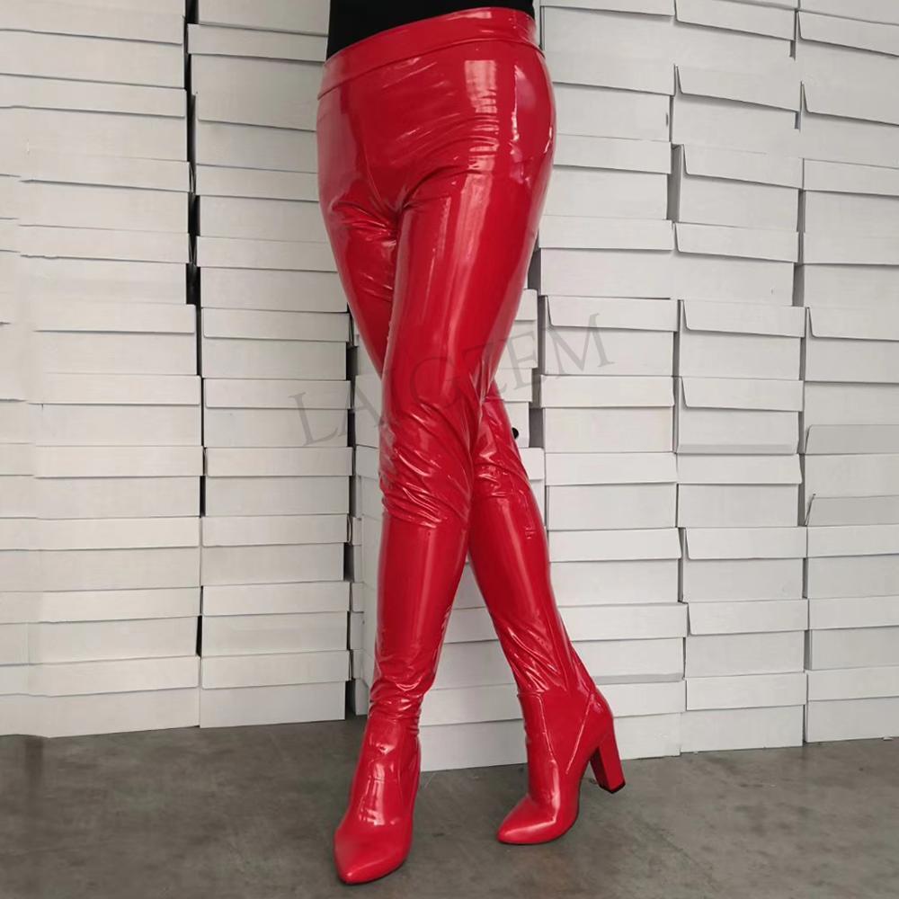 LAIGZEM Vrouwen Broek Laarzen Puntige Teen Chunky/Stiletto Hakken Laarzen Panty Sok Elastische Dames Twee in Een Schoenen Grote size 34 47-in Over de knie laarzen van Schoenen op  Groep 1