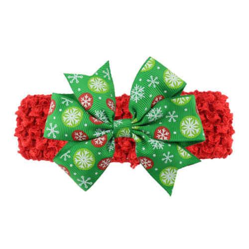 Xmas เด็กทารกเด็กทารกดอกไม้ Bowknot Headband Hairband ยืดหยุ่นเด็กคริสต์มาส Headbands ผมสวมใส่อุปกรณ์เสริม