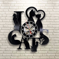 I Love Cats Wall Clock Kitten Art Unique Decorative 3d Hanging Cd Record Wall Clock 7 Different Cats Around The Clock