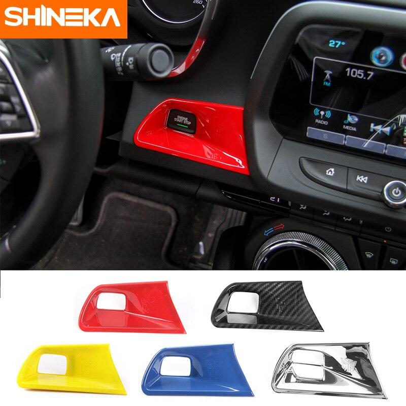 SHINEKA-botón de arranque y parada de motor embellecedor de interruptor de arranque sin llave, cubierta para Chevy Camaro 2017 + Diseño de coche