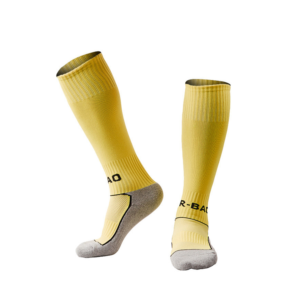Children Towel Bottom Soccer Socks Elementary Students Football Stockings for 8 13 Years Old Football Team yellow red color