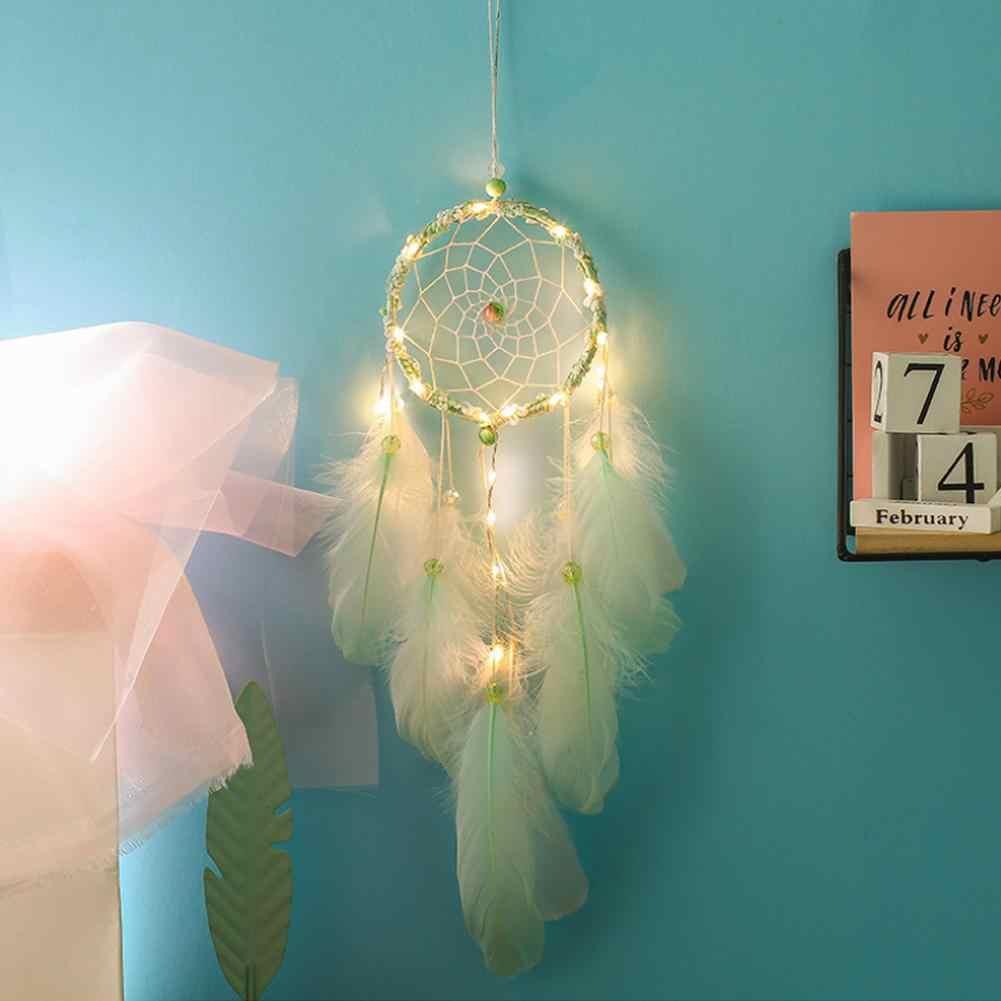 Светильник в форме сердца для девочек, светильник Ловец снов, зеленые Перьевые Украшения, кружевные ленты, перья, обернутый светильник, Ловец снов