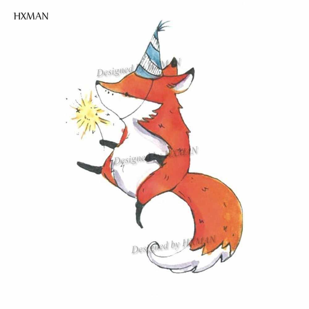 HXMAN 漫画キツネ女性の一時的なステッカーのための防水動物ボディーアートキッズガールズ手フェイクタトゥー 9.8 × 6 センチメートル A-194