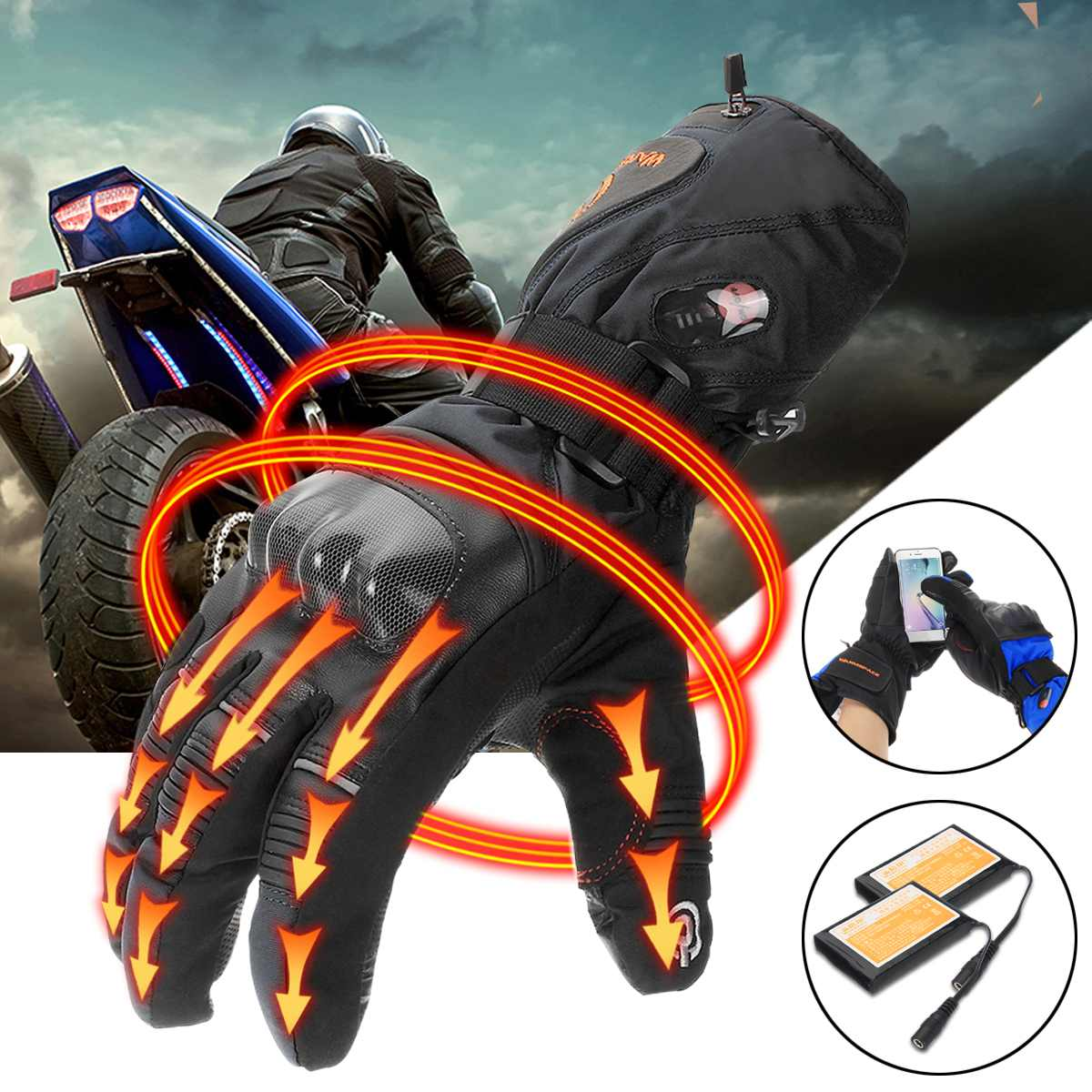 5600mah 7.4V Rechargeable Electric Gloves Heated Li Battery For Motorcycle Riding Snowboarding Skiing
