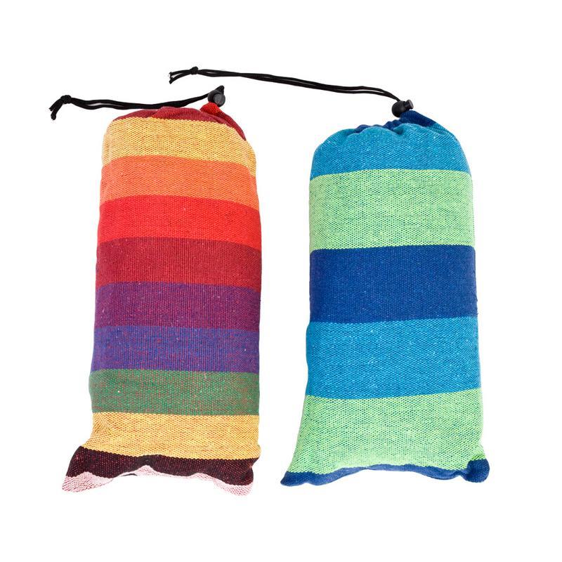 Beminnelijk 200*80 Cm Individuele Hangmat Draagbare Camping Tuin Strand Reizen Hangmat Outdoor Ultralight Kleurrijke Katoen Polyester Swing Bed Haren Voorkomen Tegen Grijzing En Nuttig Om Teint Te Behouden