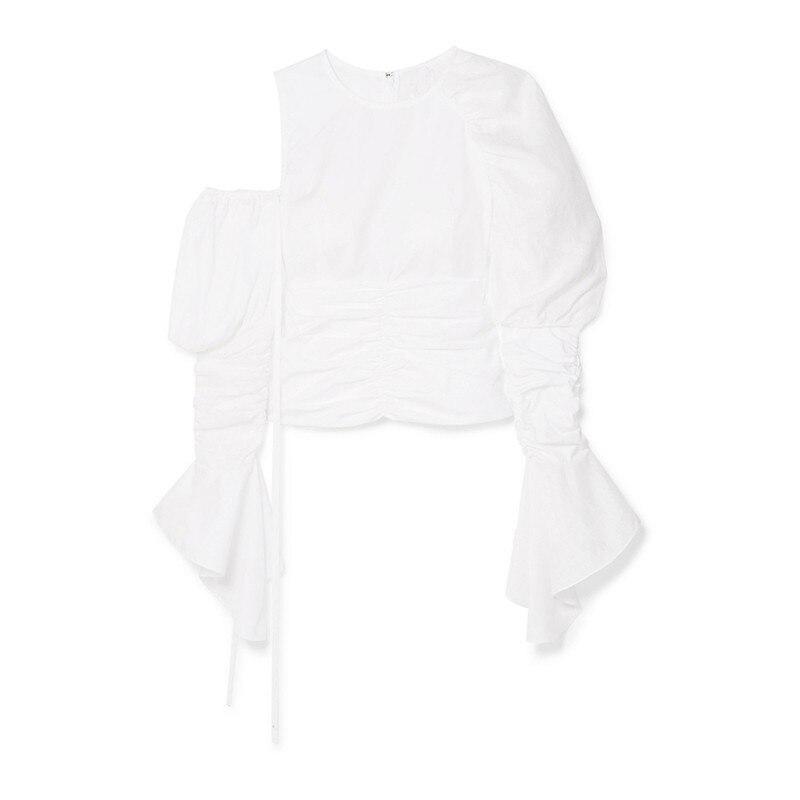 Patchwork Coreano Mujer 2019 Las Camisetas Moda White Tops Hombro Mujeres Manga Puff Para Twotwinstyle Irregular De Primavera 8wAqPHO5T