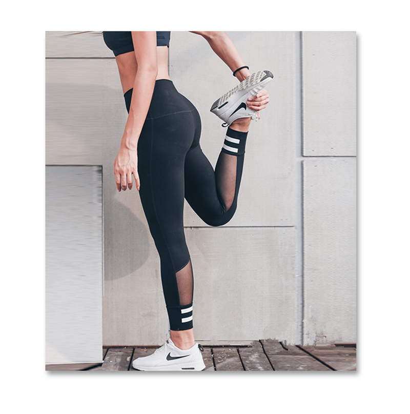 YCDYZ Mesh Sport Leggings Women Fitness Gym Yoga Pants Leggins Sportswear Strappy Jogging Pants Running Tights Sports Clothing in Yoga Pants from Sports Entertainment
