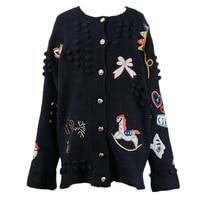 Runway Designer Women Black Cartoon Embroidery Knitted Sweater Cardigan Long Sleeve Female Streetwear Jumper 2019 Spring Clothes