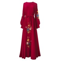 Women Casual Maxi Dresses Middle East Indonesia Floral Embroidery embroidered Muslim Robe Boho Swing Elegant Long Dress Female