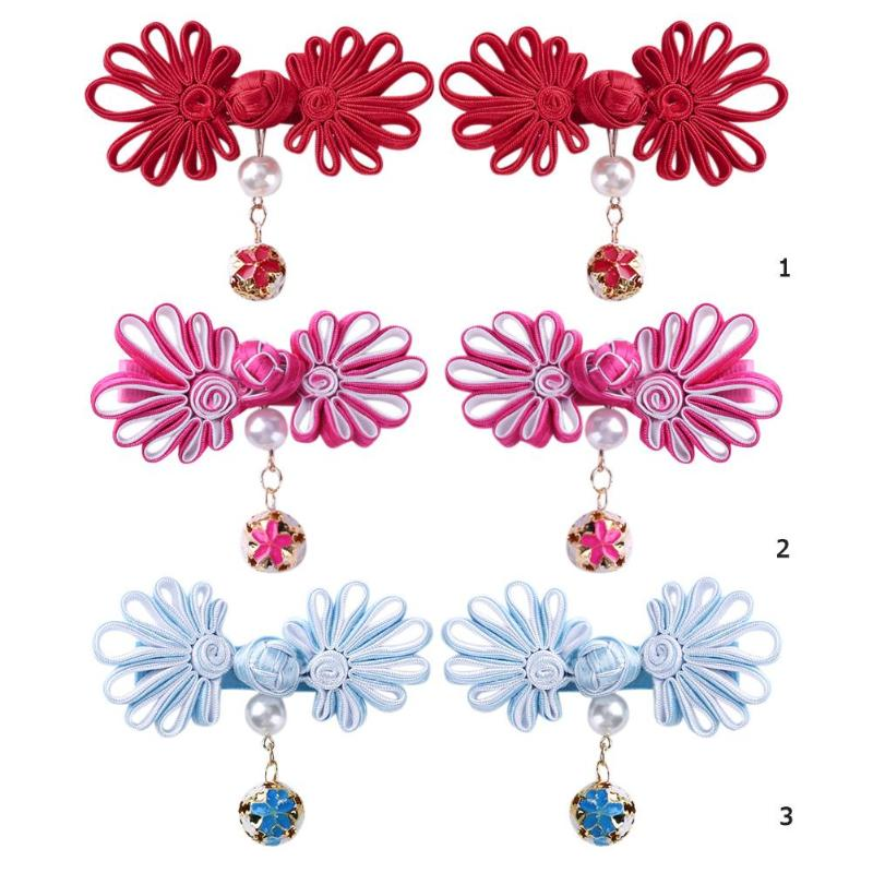 2pcs Baby Girl Hair Clip Chinese Style Girl Hair Clips Cute Colorful Princess Hairpins Barrettes For Festival Party